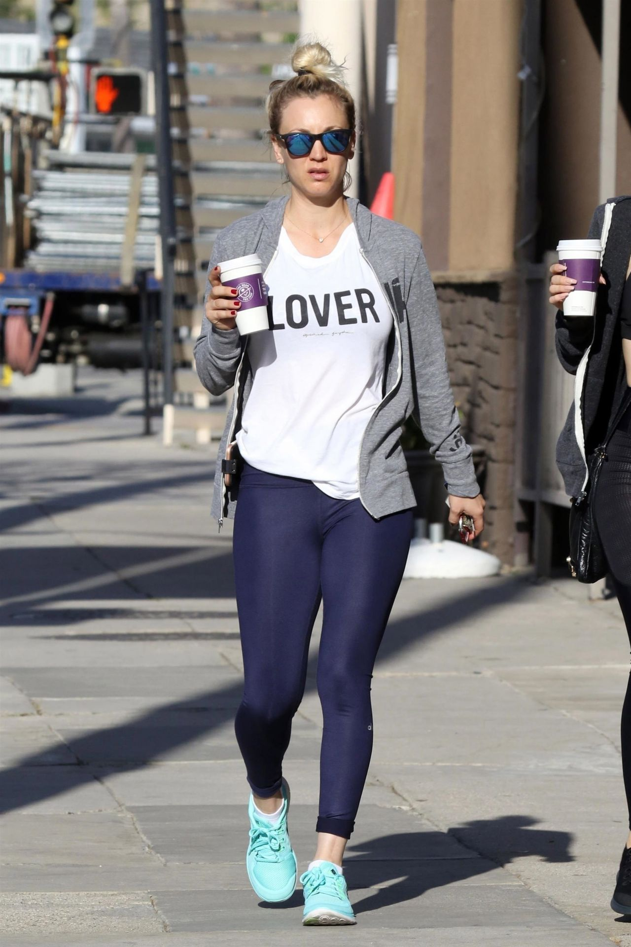 "Kaley Cuoco in a White ""Lover"" T-Shirt - Studio City 04/11 ..."