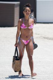 Karrueche Tran in a Pink Floral String Bikini in Miami 04/12/2018