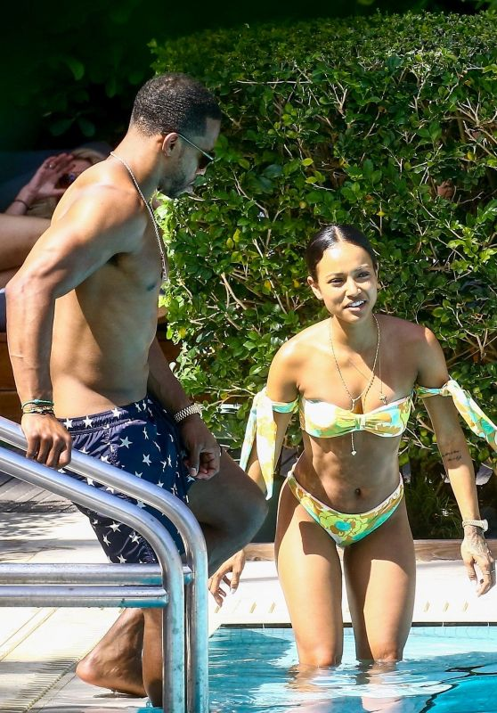 Karrueche Tran in Bikini - Setai Beach Hotel in Miami 04/13/2018