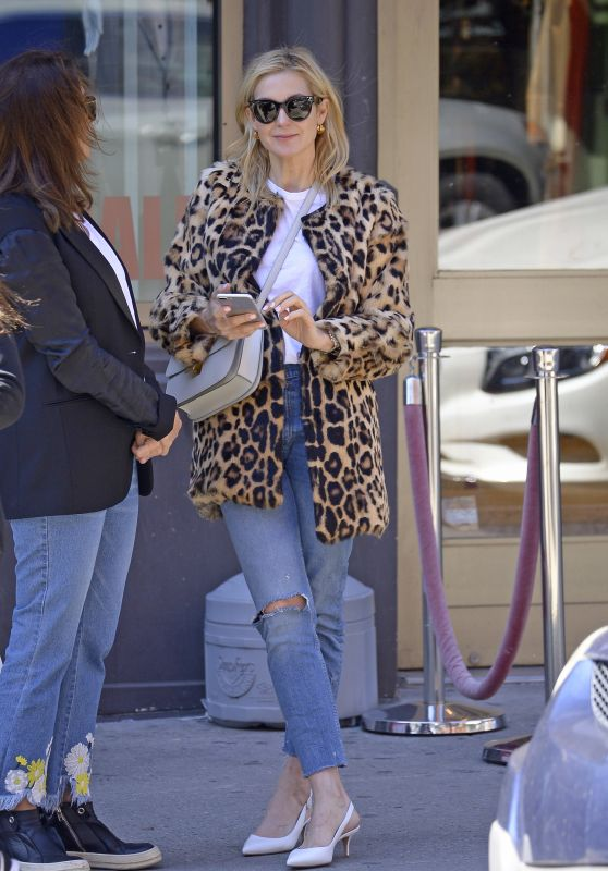 Kelly Rutherford Wearing a Leopard Fur Coat and Denim Pants - Cipriani in NYC 04/22/2018