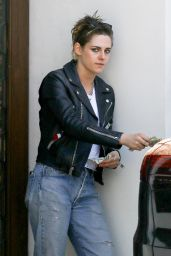 Kristen Stewart in a Black Biker Leather Jacket - Los Angeles 04/20/2018