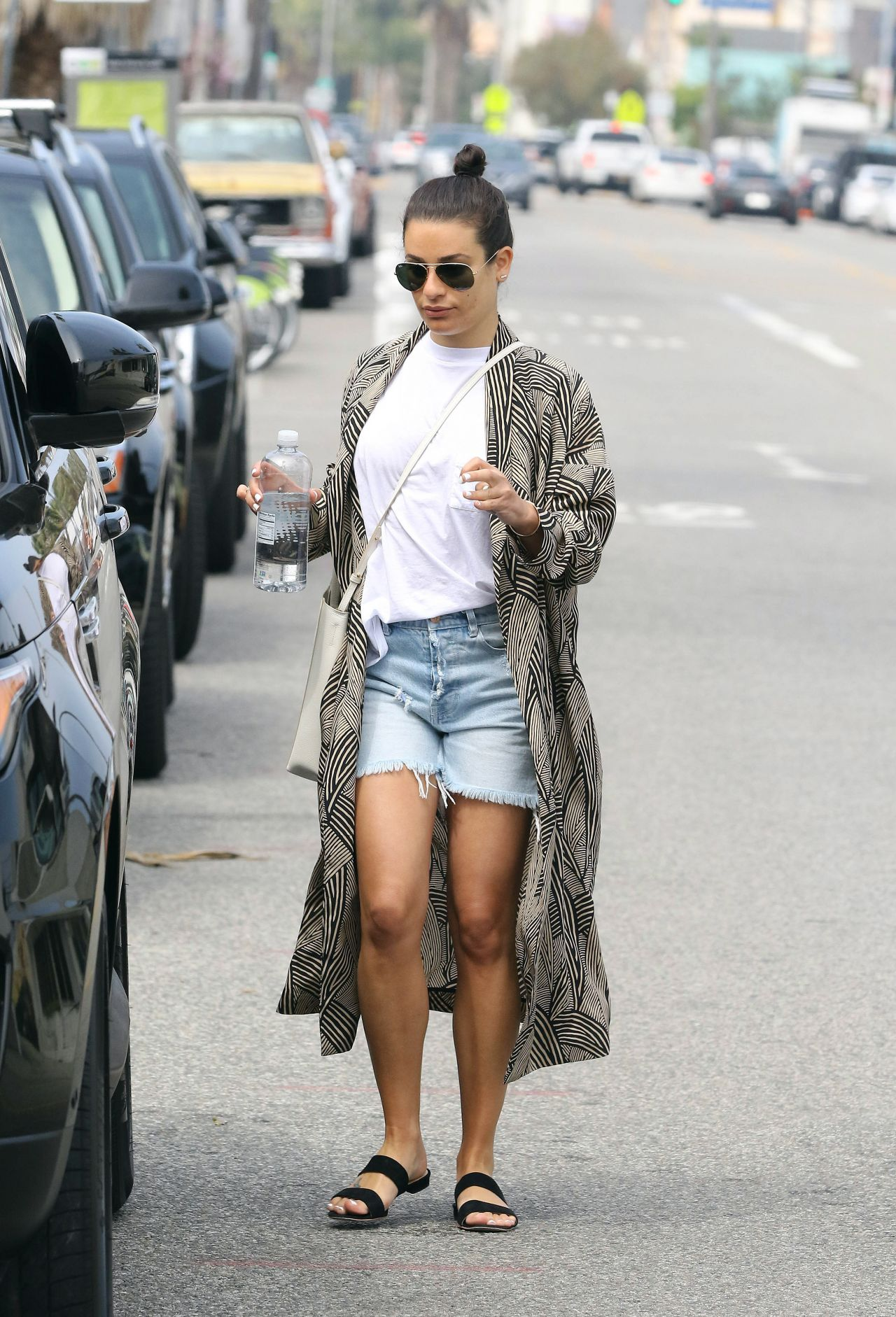 Lea Michele Arrives To All Year Round Clothing Store In