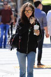Lily Collins in Casual Outfit - Out to Get a Coffee from Starbucks 04/16/2018