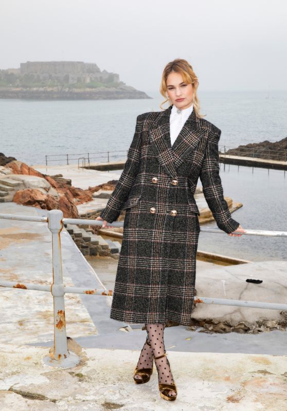 """Lily James - """"The Guernsey Literary and Potato Peel Pie Society"""" Photocall in Guernsey 04/12/2018"""