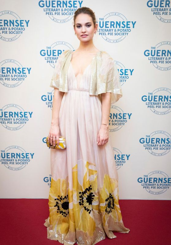 """Lily James - """"The Guernsey Literary and Potato Peel Pie Society"""" Premiere in Guernsey"""