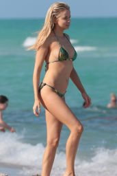 Louisa Warwick in a Green Bikini at the Beach in Miami Beach 04/13/2018
