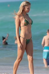 Louisa Warwick in a Green Bikini at the Beach in Miami Beach 04/13/2018