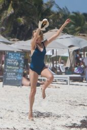 Naomi Watts in a Blue Swimsuit on the Beach in Tulum 04/05/2018