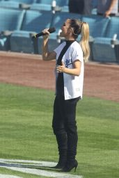 Pia Toscano - Sings the National Anthem Before the Dodgers Game in LA