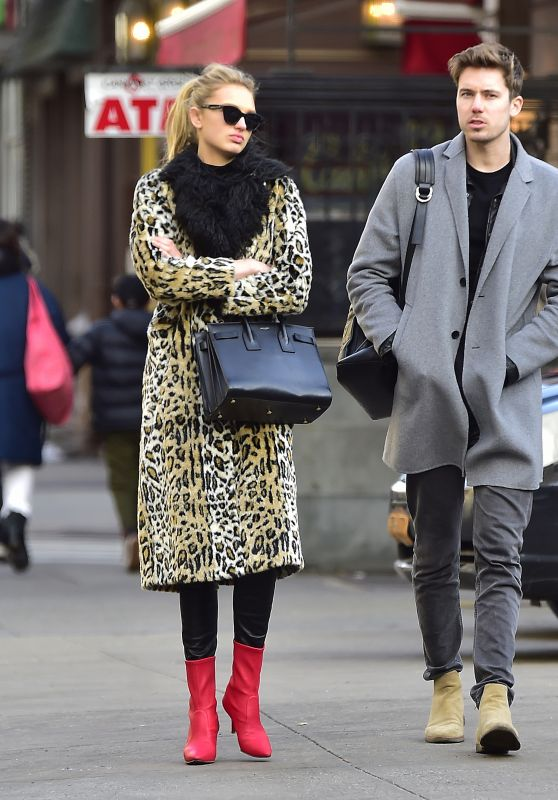 Romee Strijd in Animal Print Jacket and Black Leather Pants at SweetGreen in NYC