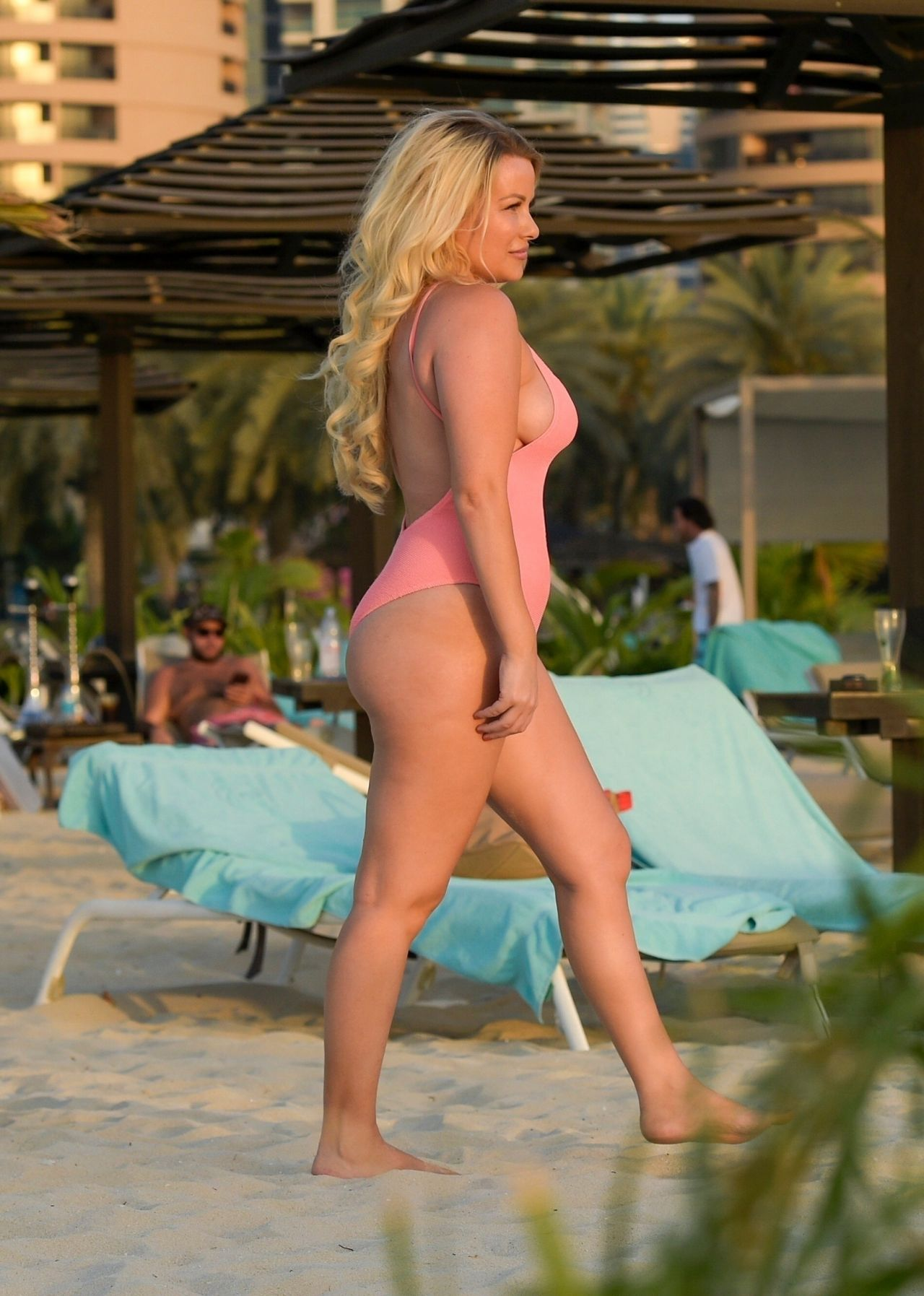 Selina Waterman Smith In A Pink Swimsuit On The Beach In