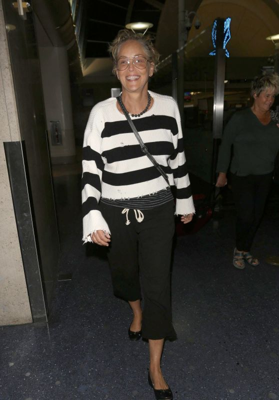 Sharon Stone - Arrives at LAX Airport in Los Angeles 04/13/2018