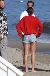 Sofia Richie Leggy in Jeans Shorts on the Beach in Malibu 04/22/2018