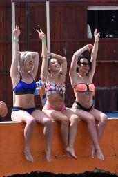 Stephanie Davis and Gabby Allen - Bikini Poolside in Marbella 04/22/2018