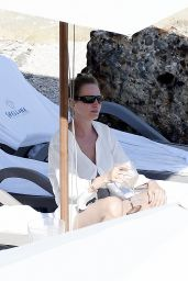 Uma Thurman in Swimsuit at the Beach in St Barts 04/04/2018