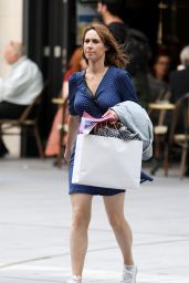 Alex Jones in a Blue Dress and White Sneakers - London 05/22/2018