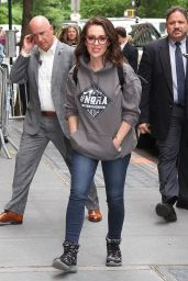 """Alyssa Milano in Anti-NRA Sweatshirt """"NoNRA for a Better Life Now"""" in NYC 05/18/2018"""