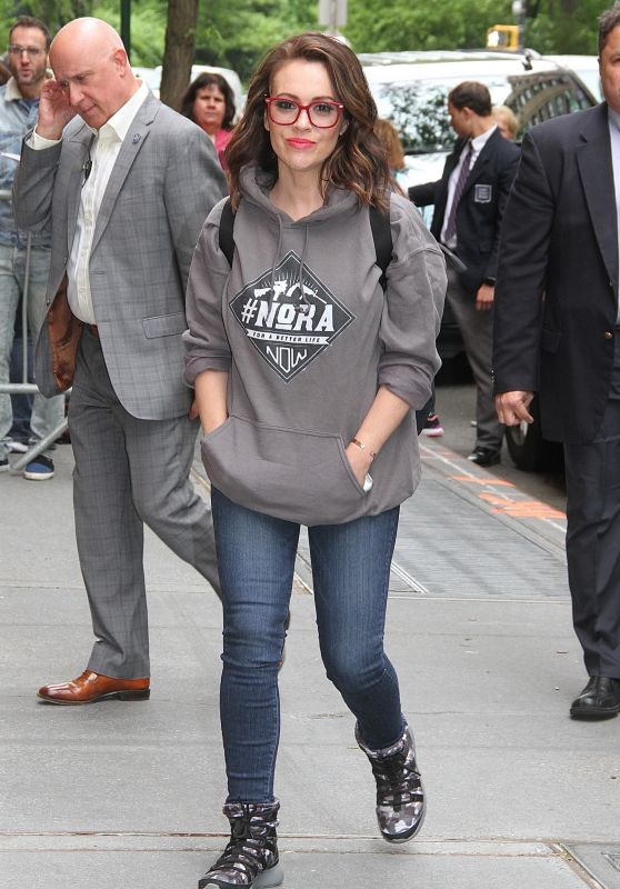 "Alyssa Milano in Anti-NRA Sweatshirt ""NoNRA for a Better Life Now"" in NYC 05/18/2018"