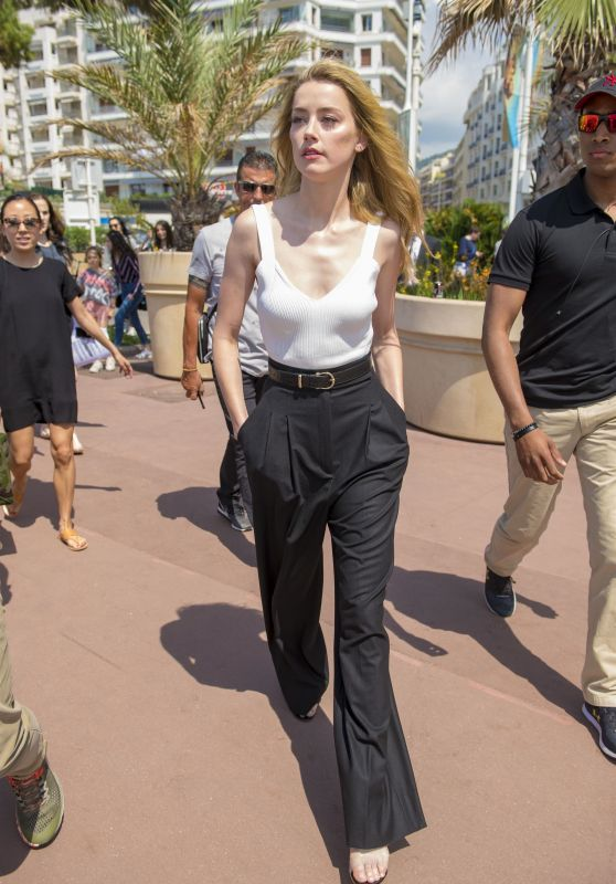 Amber Heard in a White Vest and Black Trousers - Out in Canns 05/10/2018