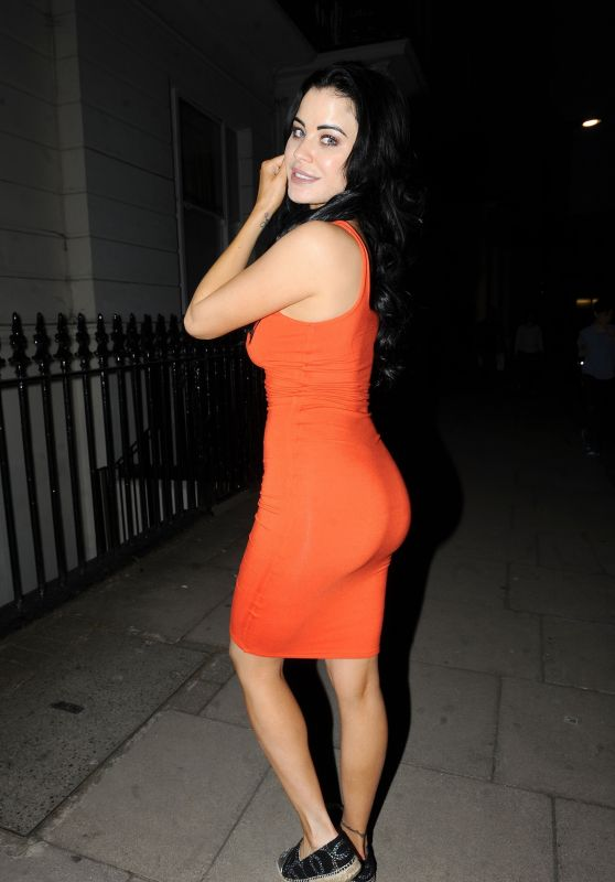 Carla Howe in an Orange Dress - Night Out in London 05/07/2018