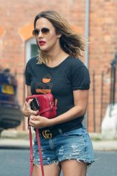 Caroline Flack in Jeans Shorts - Heading For Pamper Session in London 05/23/2018