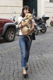 Catrinel Marlon - Walk With Dog Along Via Giulia Street in Rome 05/28/2018