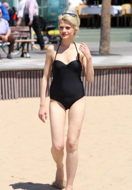 Chloe Jasmine in a Black Swimsuit on the Beach in Cape Verde 04/29/2018