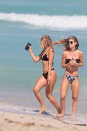 Ciara Lebamoff in a Black and White Bikini in Miami Beach 05/19/2018