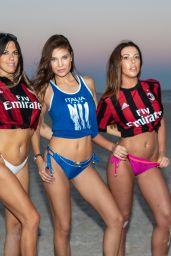 Claudia Romani, Laura Bragato and Julia Pereira in Soccer Jerseys and Bikini on the Beach in Miami 05/08/2018