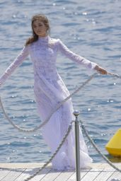 Daniela Lopez Osorio in a White Dress in Antibes 05/17/2018