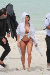 Demi Rose in Bikini - Getting Off a Luxury Yacht in Ibiza, May 2018