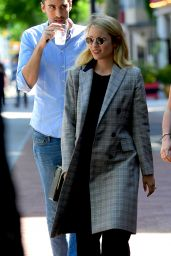 Dianna Agron in a Plaid Jacket at Bar Pitti in New York City 05/20/2018