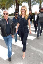 Doutzen Kroes in a Navy Blue Boiler Suit in Cannes 05/14/2018