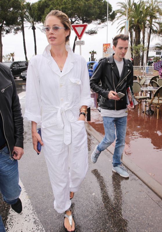 Doutzen Kroes in a White Boiler Suit in Cannes 05/14/2018