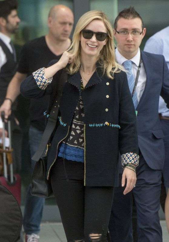 Emily Blunt at London Heathrow Airport 05/21/2018