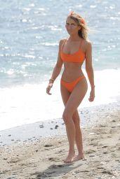 Georgia Harrison in an Orange Bikini on Ibiza Beach, May 2018