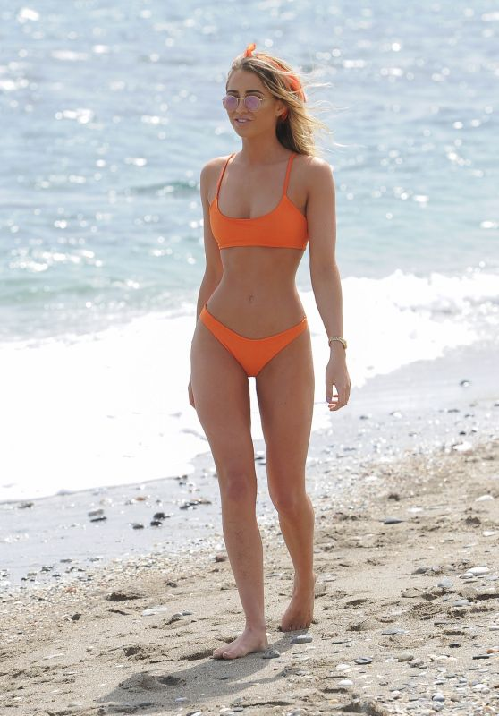 Georgia Harrison in an Orange Bikini on Ibiza Beach, May 2018