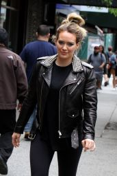 Hilary Duff in Studded Leather Jacket - New York 05/23/2018