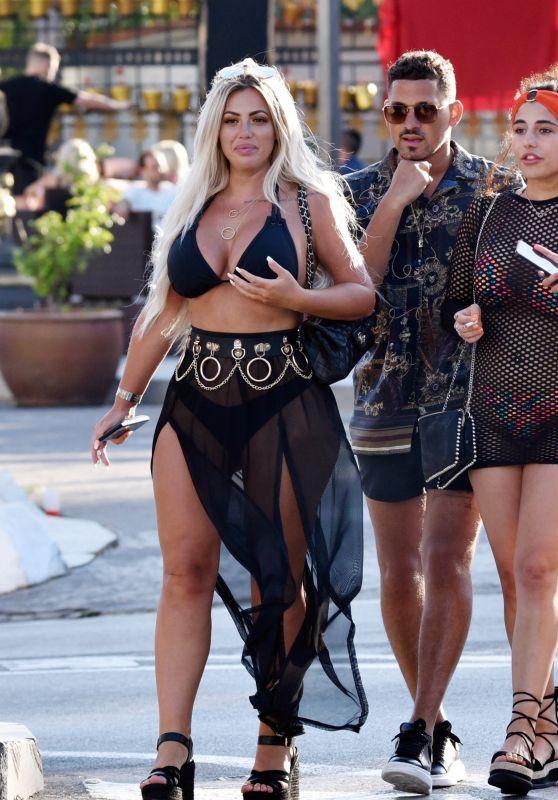 Holly Hagan in a Halter Neck Bikini and Chiffon Skirt - Holiday in Marbella 05/28/2018