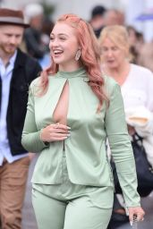 Iskra Lawrence in Low Cut Satin Top - Cannes 05/14/2018