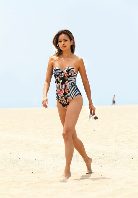 Jamie Chung in a Chic Swimsuit at the Beach in Miami 05/22/2018