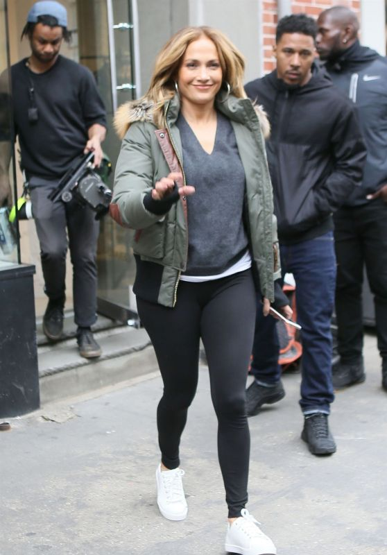 "Jennifer Lopez in Tights - Leaves the ""Second Act"" Set in NYC 05/06/2018"