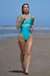 Jenny Thompson in Mermaid Swimsuit on the Beach in Spain 04/29/2018