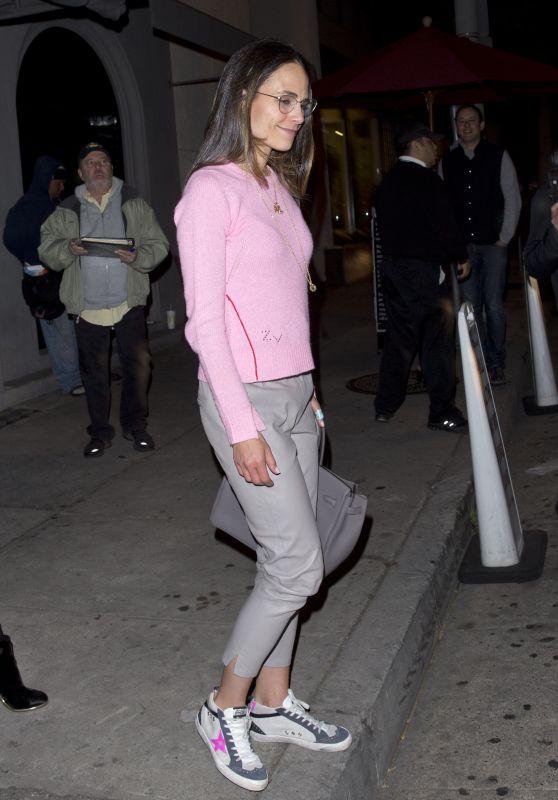 Jordana Brewster in Pink at Craigs Restaurant in West Hollywood 05/13/2018