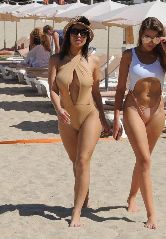 Katie Salmon and India Jennings at the Beach in Marbella, April 2018
