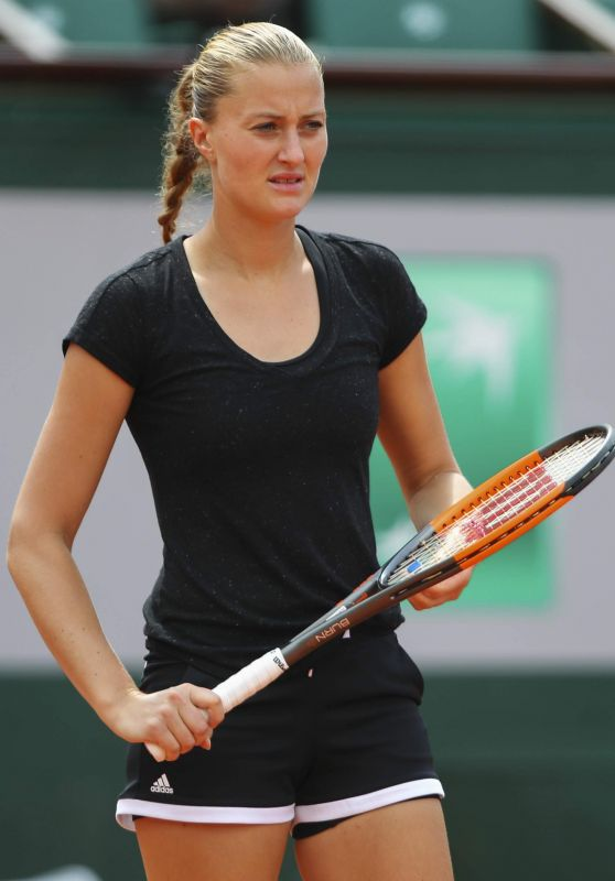 Kristina Mladenovic - Practices at 2018 Roland Garros in Paris 05/24/2018