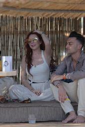 Lindsay Lohan at a Beach Bar in Mykonos 05/26/2018