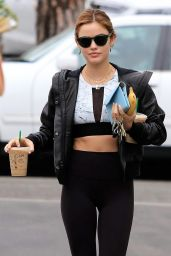 Lucy Hale in Tights - Leaving the Starbucks in Studio City 05/24/2018
