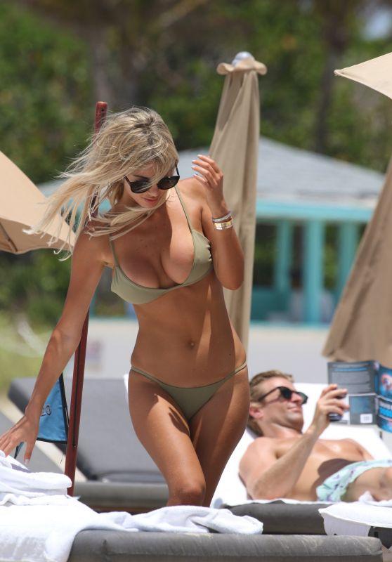 Melissa Castagnoli in a Beige Bikini at the Beach in Miami Beach 05/26/2018