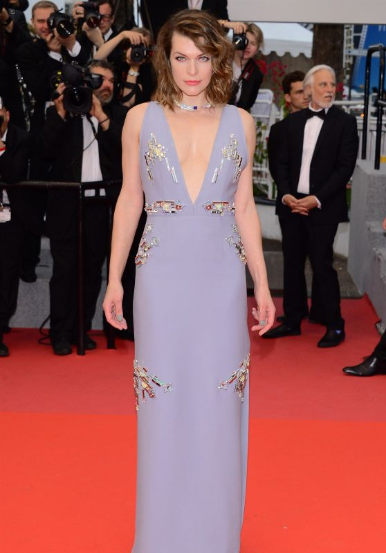 """Milla Jovovich – """"Burning"""" Red Carpet in Cannes"""